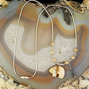 Stone Bear silver beaded necklace GUC